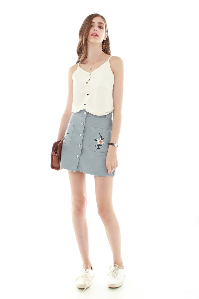 *BACK IN STOCK* Embroidery Button Down Skirt in Ash Blue