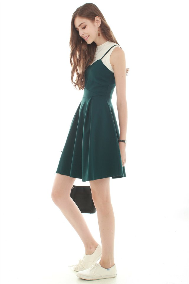 *Backorder* Twirling Cami Dress in Emerald