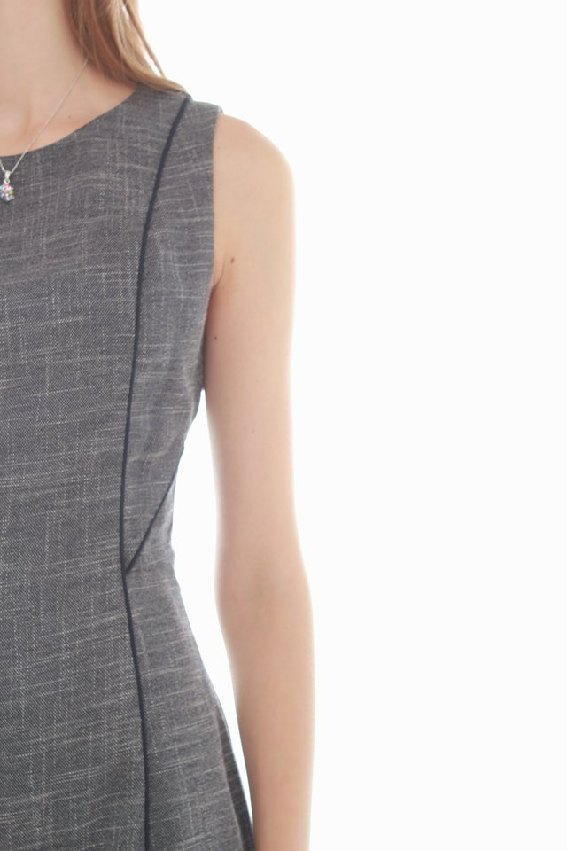 Piping Textured Work Dress in Dark Grey