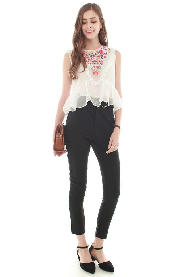 *BACK IN STOCK* Embroidery Chiffon Blouse in White
