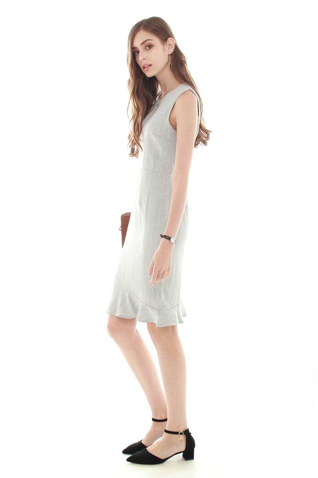 Pinstripe Asymmetrical Hem Work Dress in Light Grey