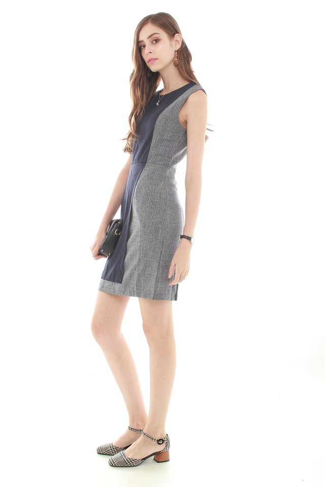 *BACK IN STOCK* Colourblocking Layered Work Dress in Navy