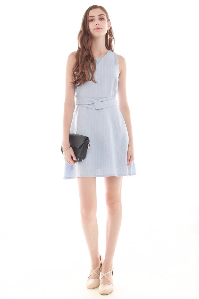 Pinstripes Circle Swing Dress in Sky