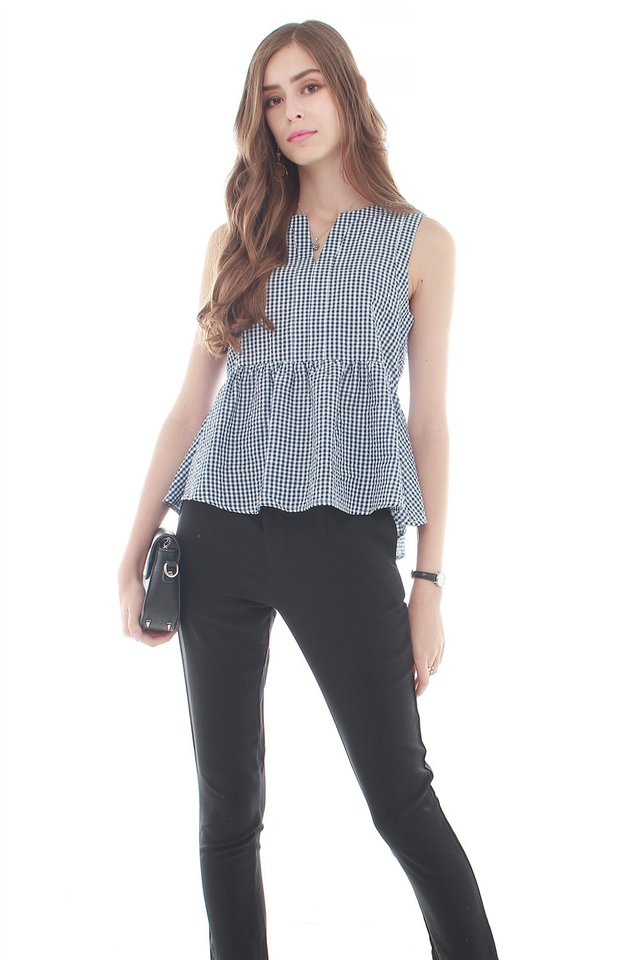 *Backorder 2* ACW Gingham Peplum Top in Navy