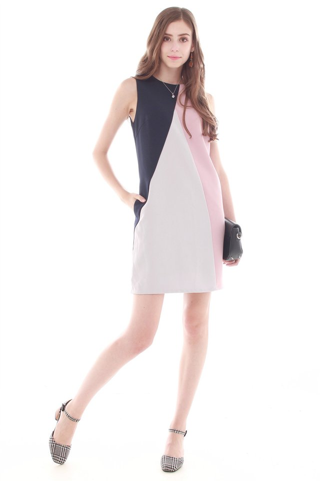Tri Colourblock Work Dress in Navy