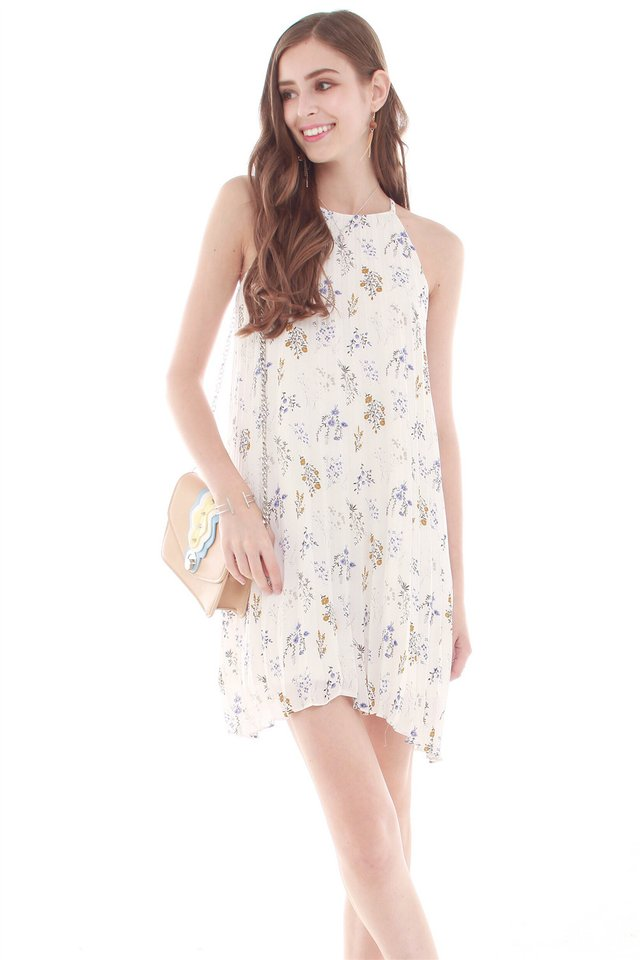 *BACK IN STOCK* Pleaty Pastel Floral Trapeze Dress in White