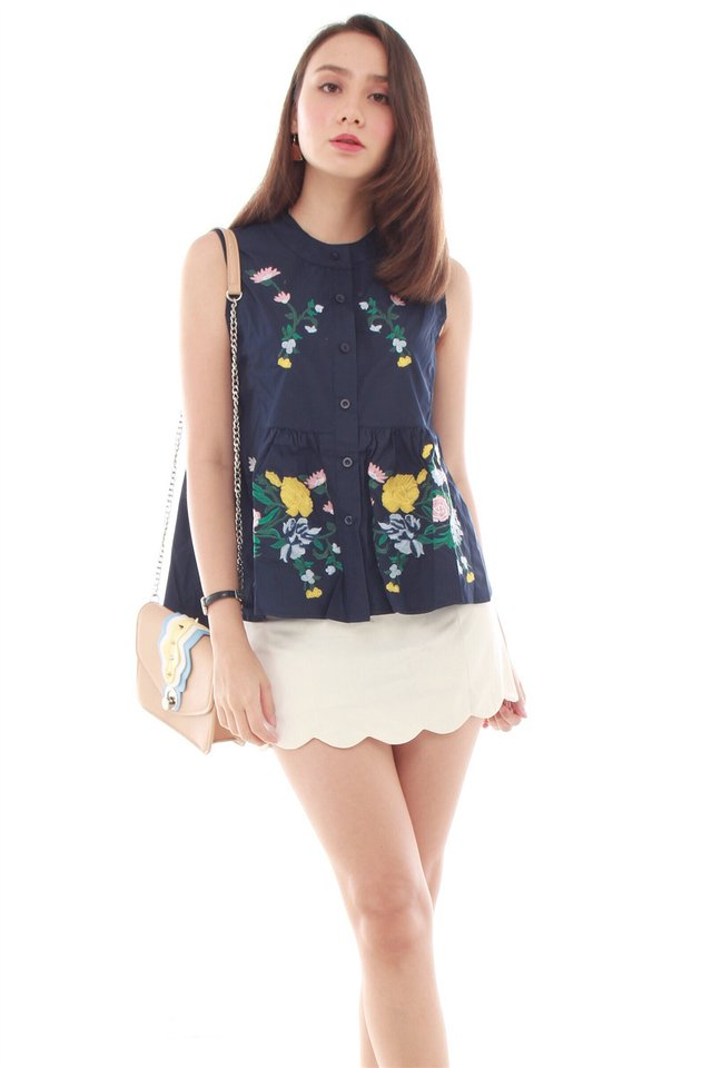 Embroidery Garden Babydoll Top in Navy