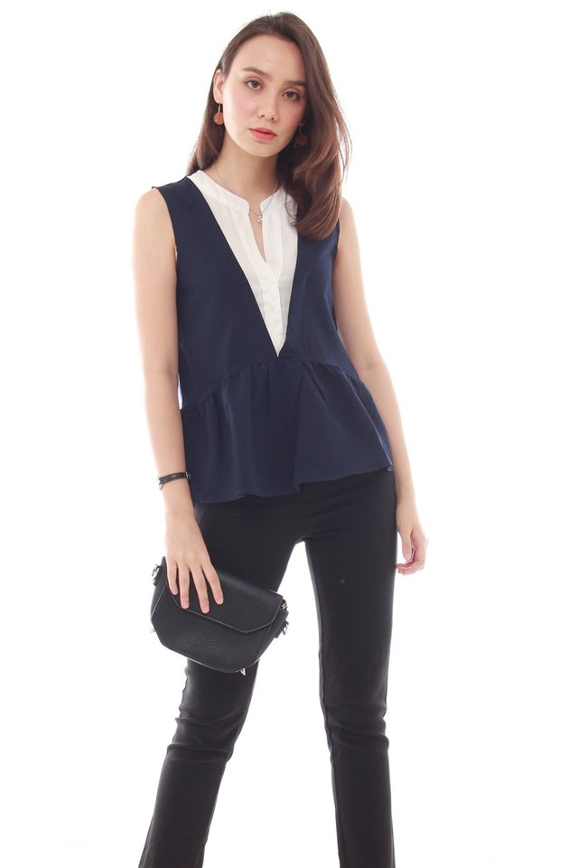 Coloublock Peplum Top