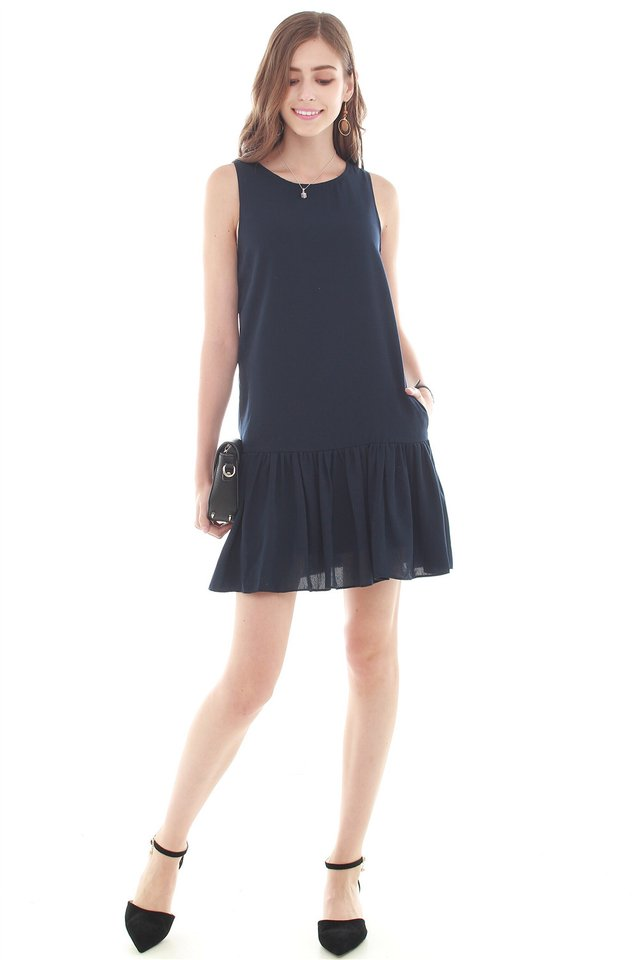 Dropwaist Flutter Dress in Navy