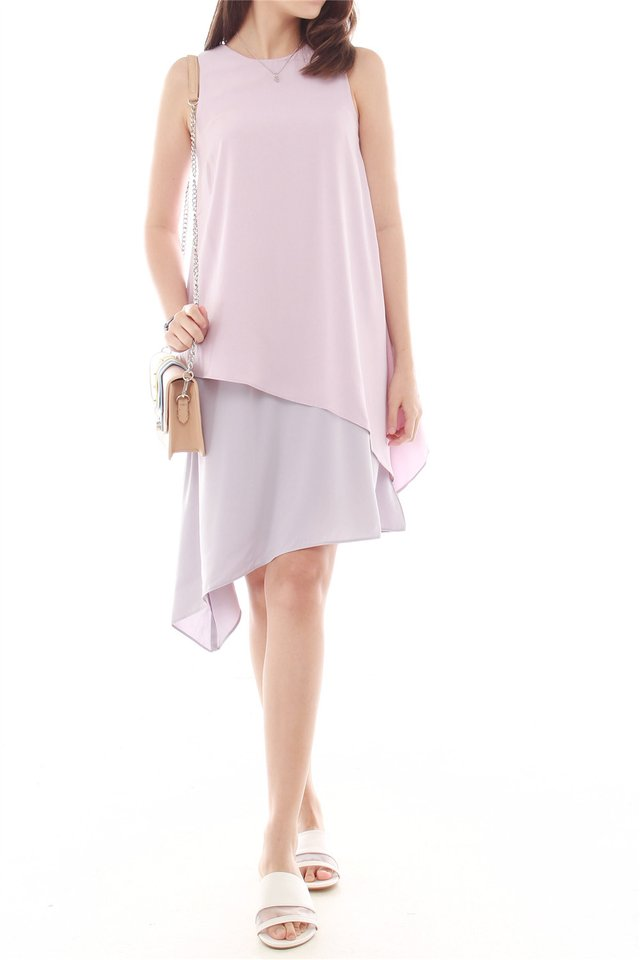 Asymmetrical Colourblock Drape Dress in Dusty Pink