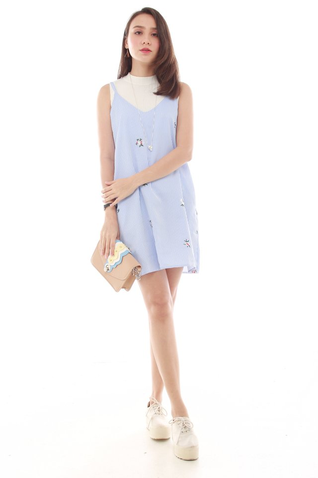 *BACK IN STOCK* ACW Embroidery Slip Dress in Light Blue