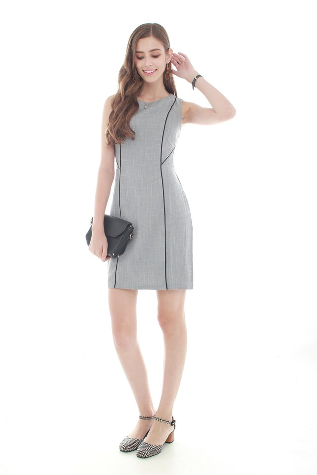 Piping Textured Work Dress in Light Grey