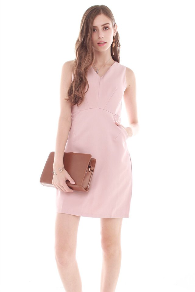 *BACK IN STOCK* Crescent Pocket Work Dress in Blush
