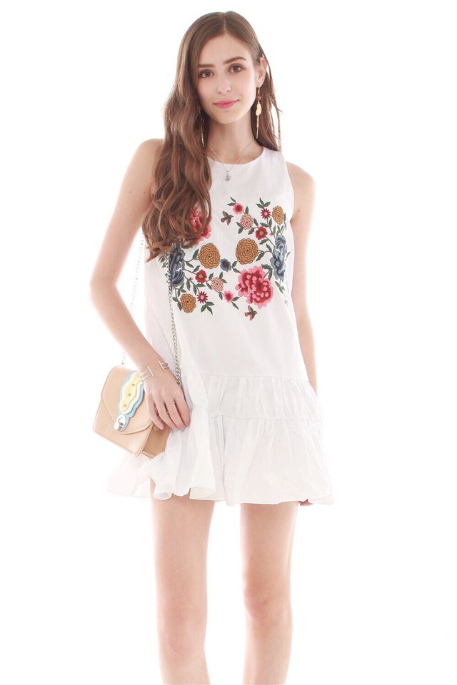 *BACK IN STOCK* Embroidery Ruched Hem Dress in White