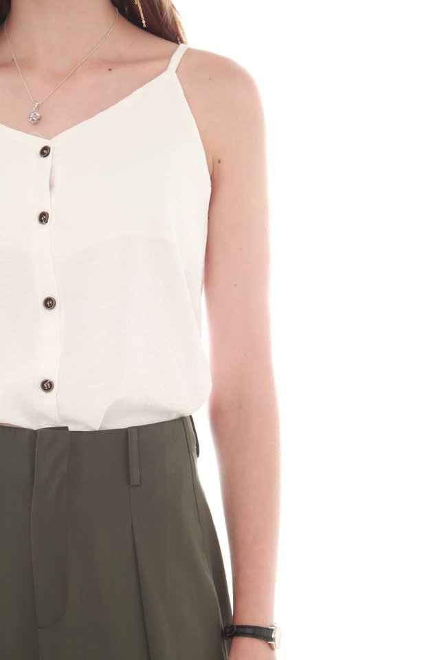 *BACK IN STOCK* Button Down Cami Top in White