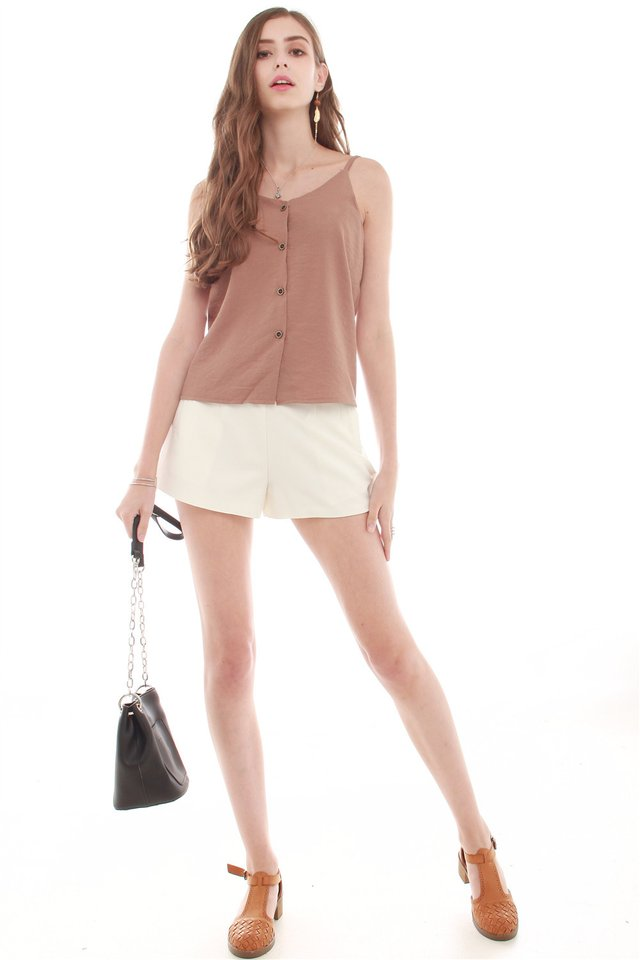 *BACK IN STOCK* Button Down Cami Top in Brown