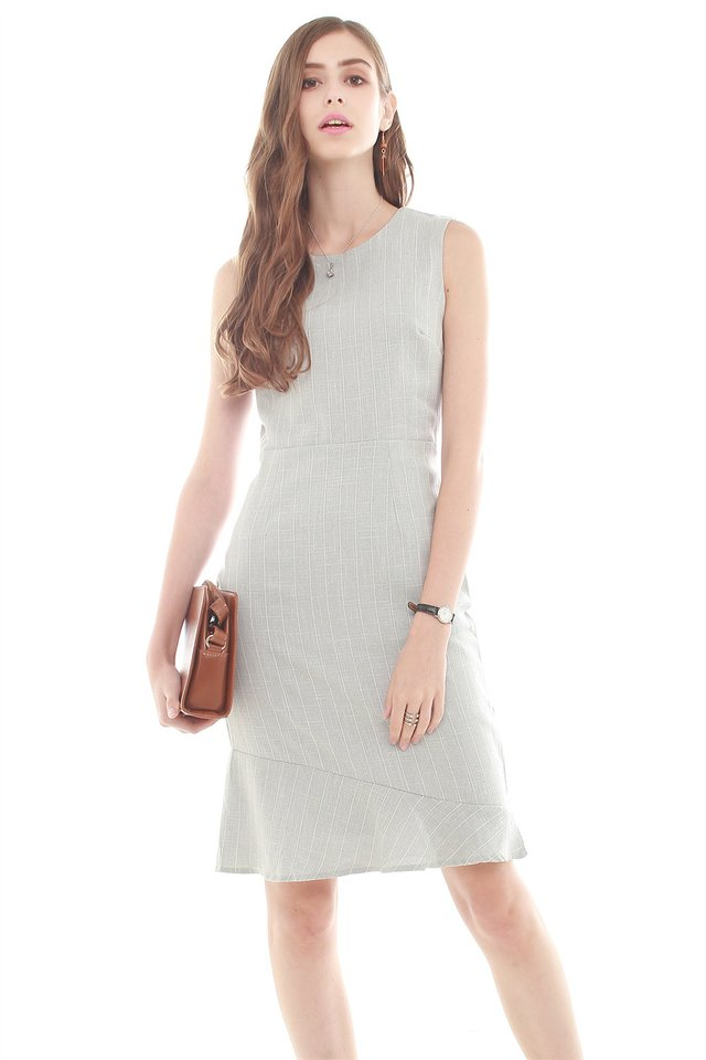 Pinstripe Asymmetrical Hem Work Dress in Light Grey