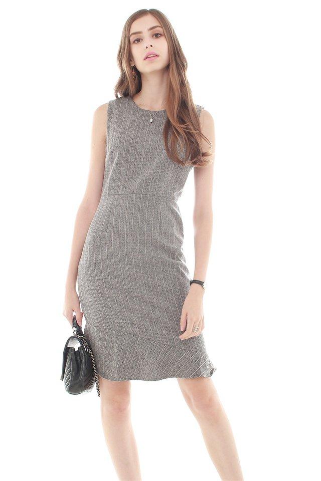 Pinstripe Asymmetrical Hem Work Dress in Dark Grey