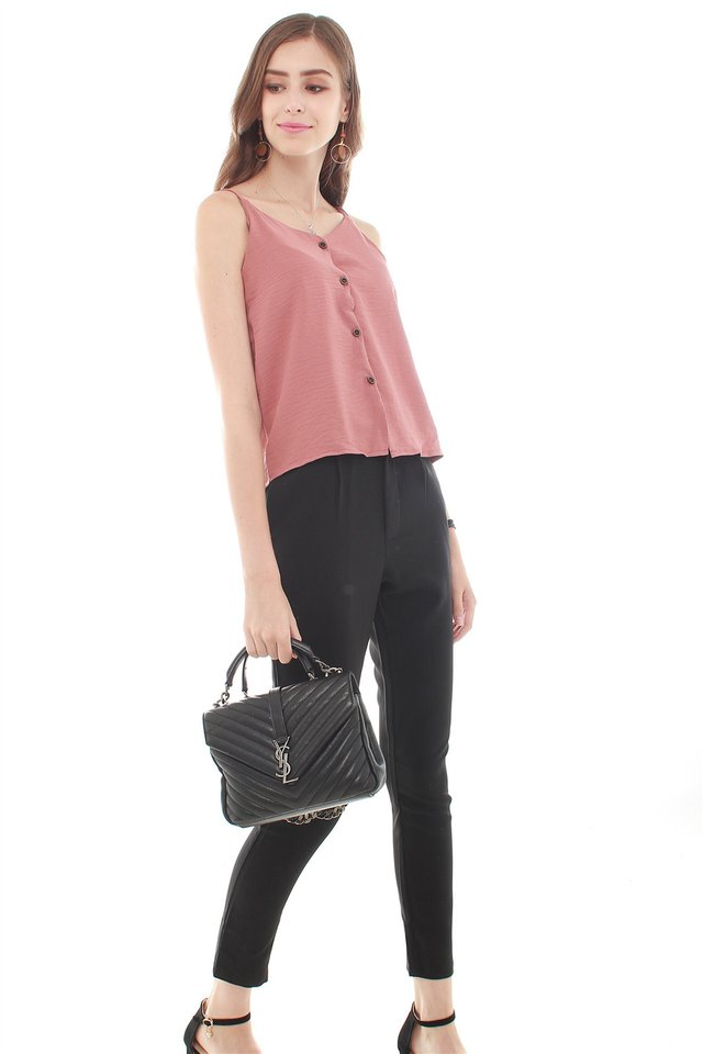 *Backorder* Button Down Cami Top in Mauve
