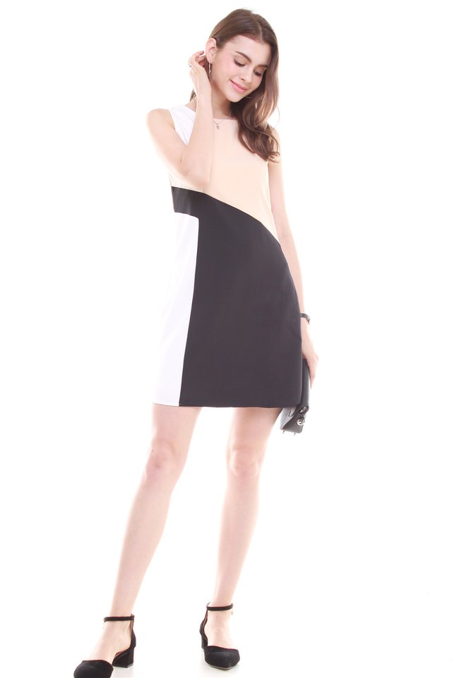Diagonal Tri Colourblock Work Dress in Black