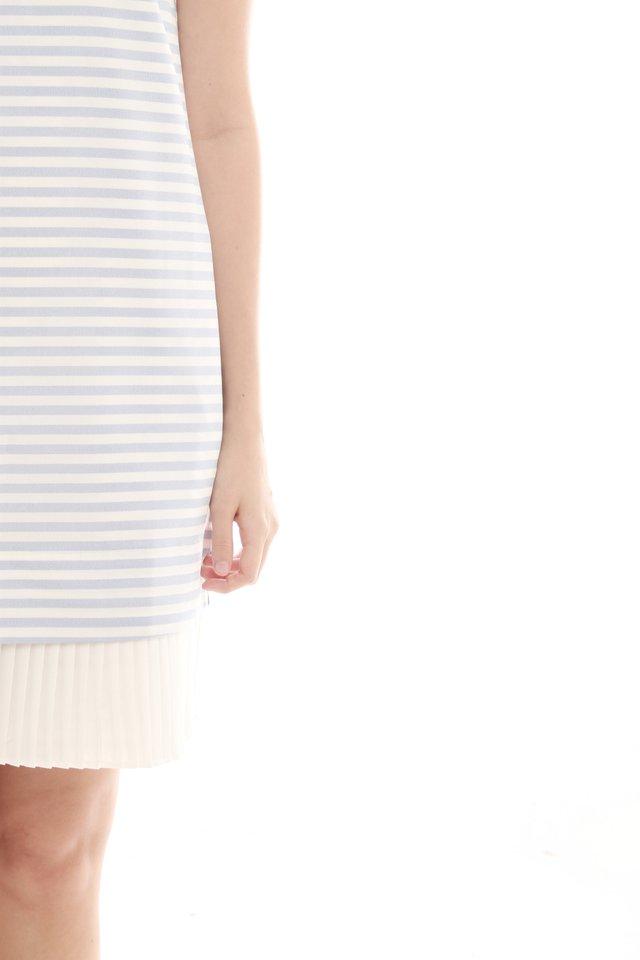 Sleeveless Pleated Hem Tweed Shift Dress in Sky Stripes