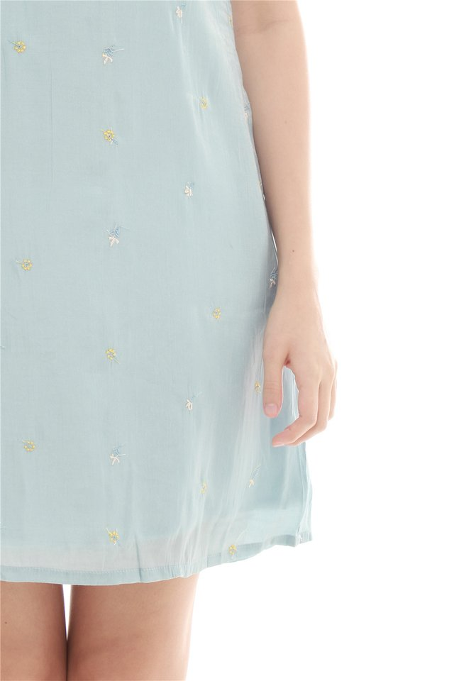 Intricate Embroidered Floral Trapeze Dress in Powder Blue