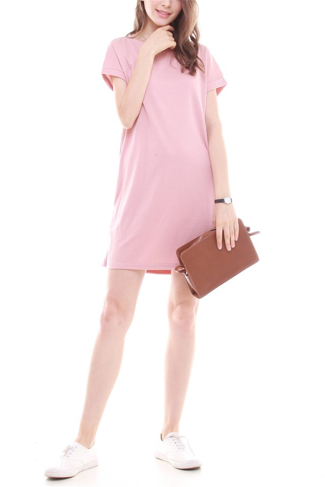 ACW Structured Pocket Tee Dress in Dusty Pink