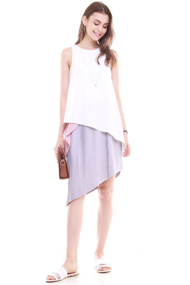 *BACK IN STOCK* Colourblocking Asymmetric Layered Midi Dress in White