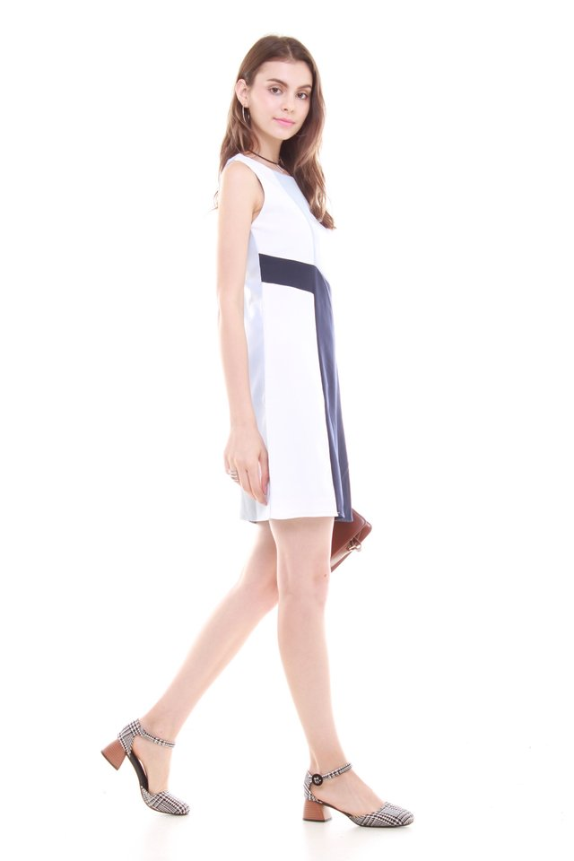 Diagonal Tri Colourblock Work Dress in Sky Blue