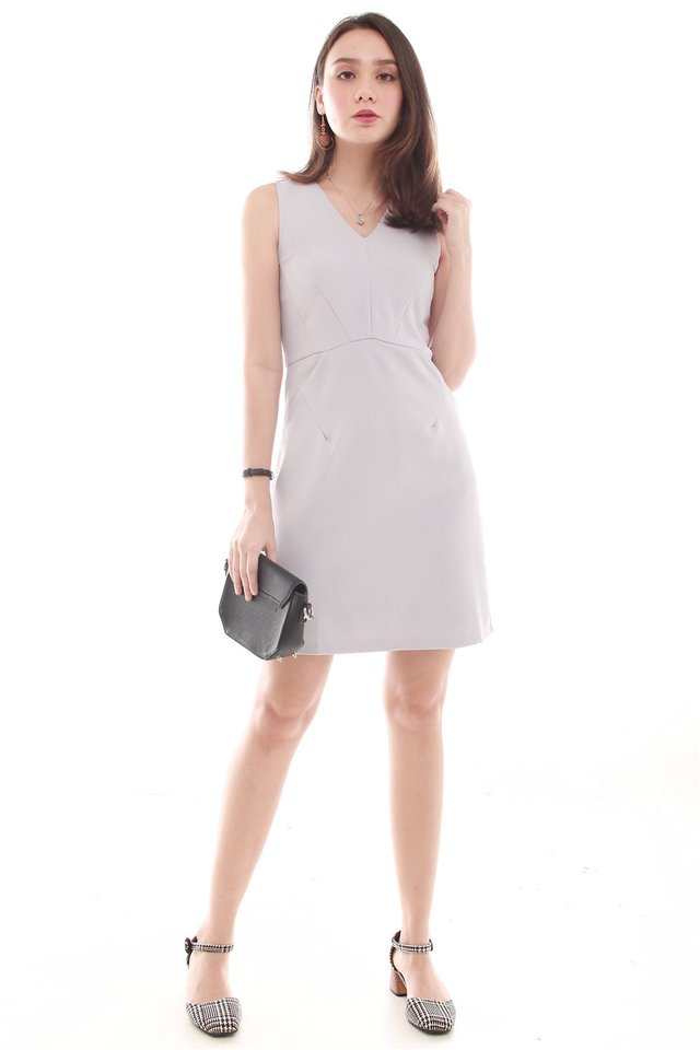 Crescent Pocket Work Dress in Light Grey