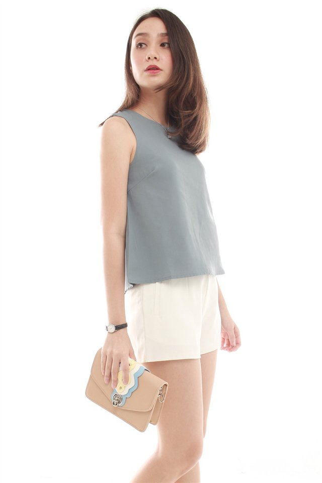 *BACK IN STOCK*  ACW Pleated Shell Top in Ash Blue