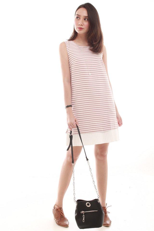 Sleeveless Pleated Hem Tweed Shift Dress in Dusty Pink Stripes