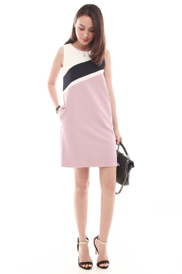 Triple Lined Colourblock Shift Dress