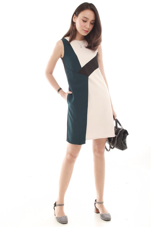 Asymmetric Colourblock Work Dress in Emerald
