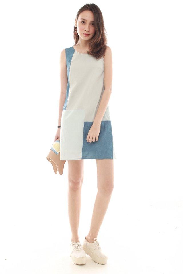 Denim Colourblocking Shift Dress in Light Wash