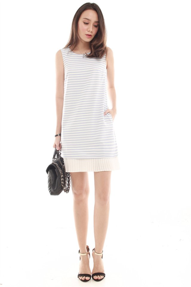 Sleeveless Pleated Hem Tweed Shift Dress in Sky Stripes