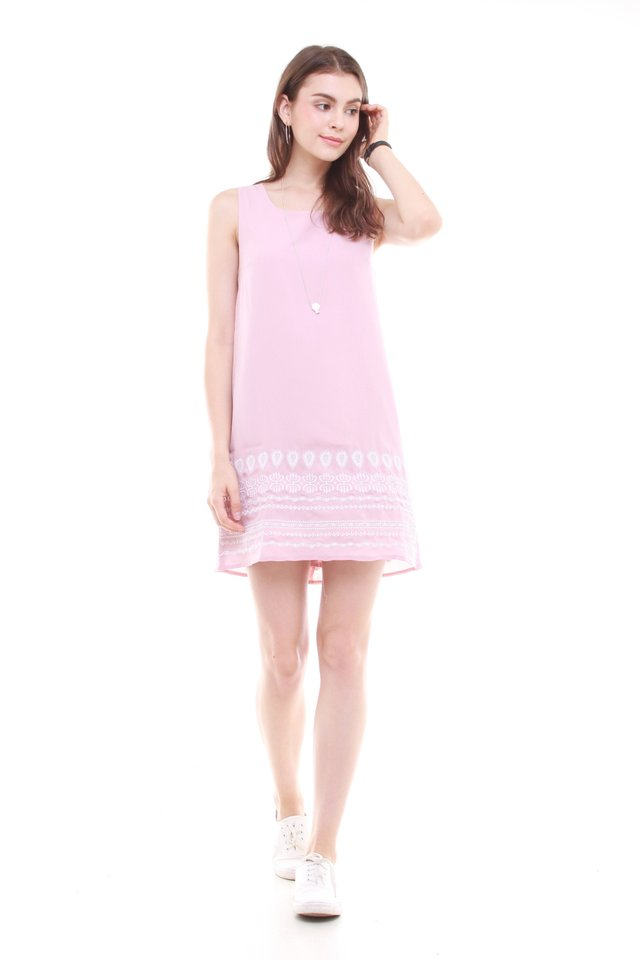 Embroidery Shift Dress in Blush
