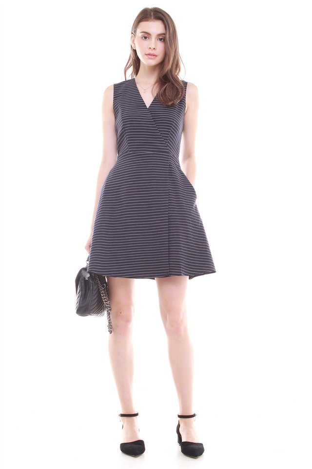 Overlap Preppy Stripe Dress in Navy