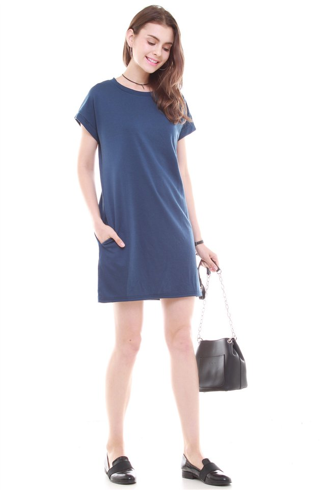 ACW Structured Pocket Tee Dress in Blue