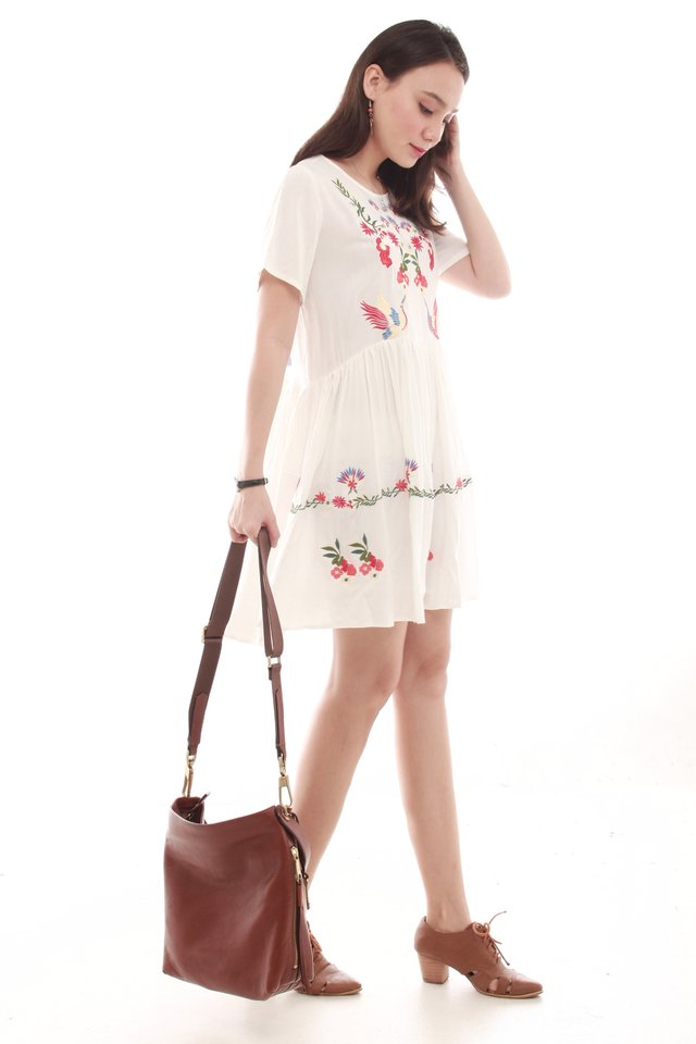 Embroidery Roses Babydoll Dress