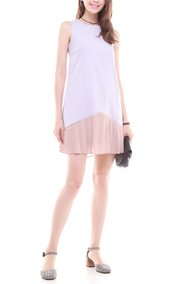 Colourblock Pleated Pocket Trapeze Dress in Dusty Grey