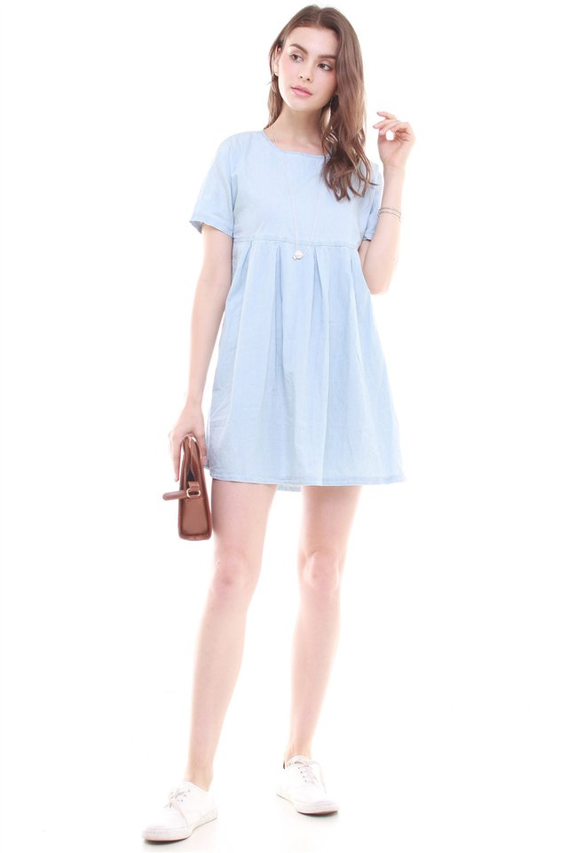 *Backorder* Denim Babydoll Dress