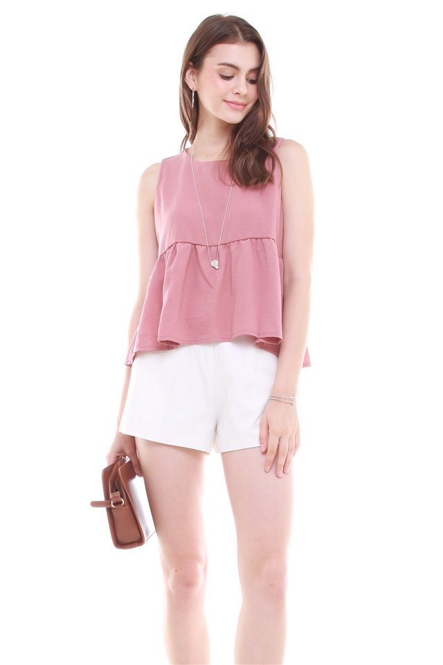 *BACK IN STOCK* Babydoll Flare Top in Mauve