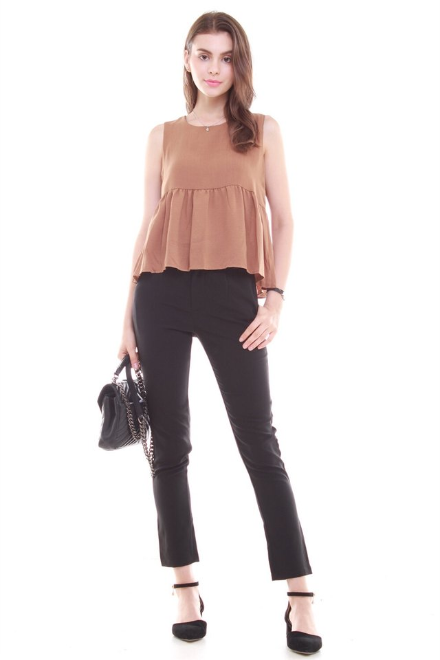 Babydoll Flare Top in Brown