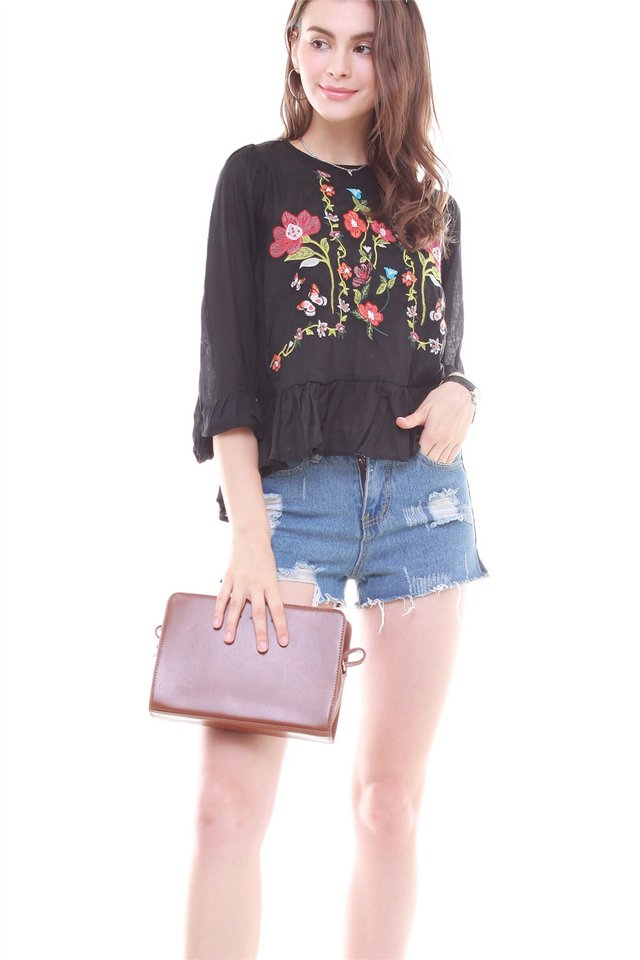 Garden Embroidery Long Sleeve Top in Black