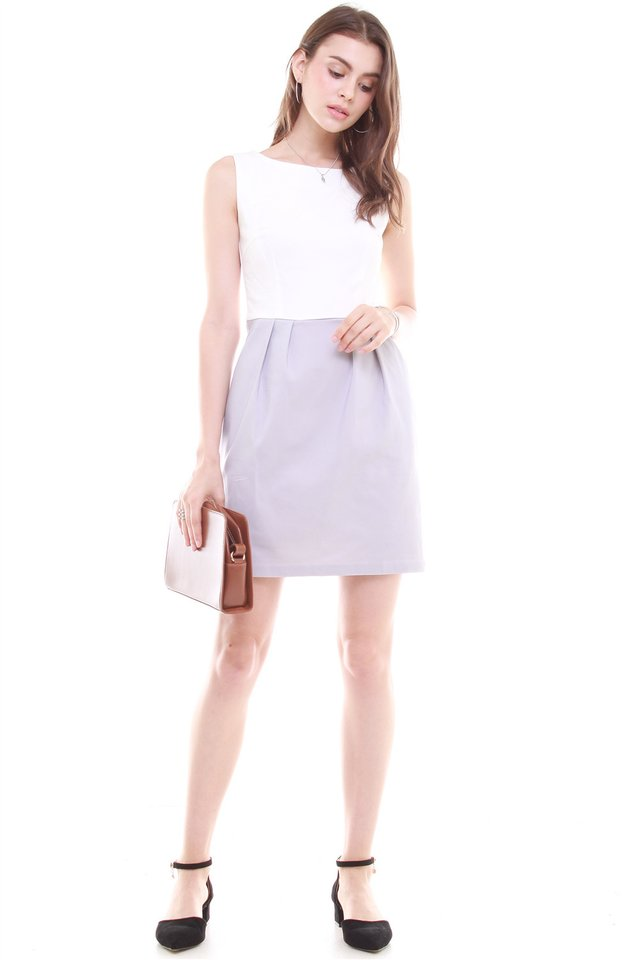 Colourblock Tulip Pocket Work Dress in White-Dusty Grey