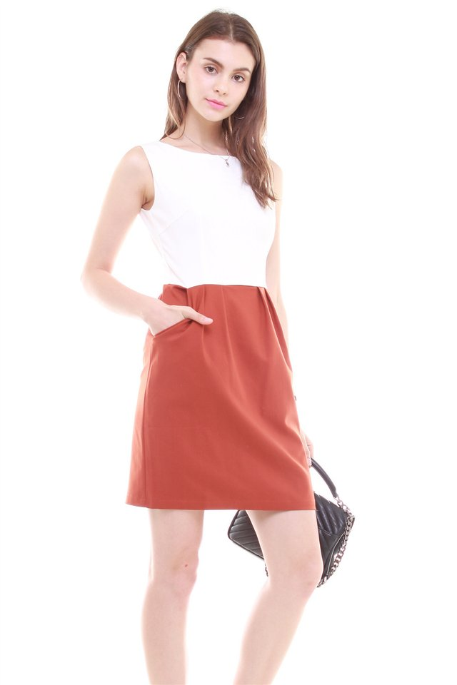 Colourblock Tulip Pocket Work Dress in White-Terracotta