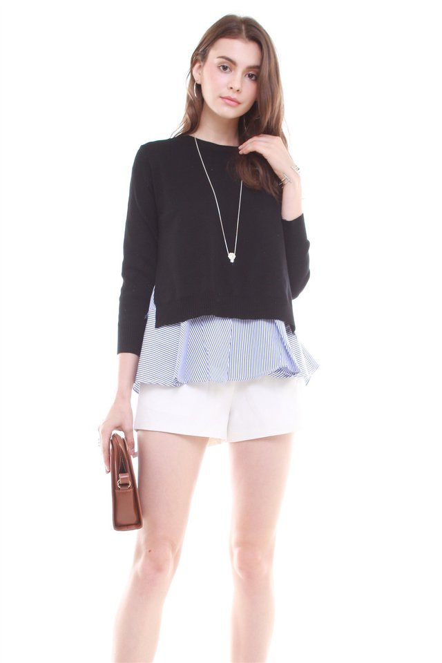 Preppy Two Piece Knitted Top in Black