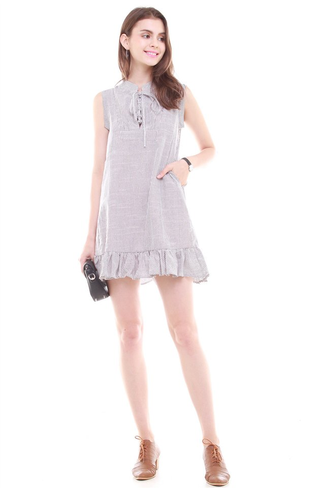 ACW Pinstripes Tie Front Flutter Hem Dress in Grey
