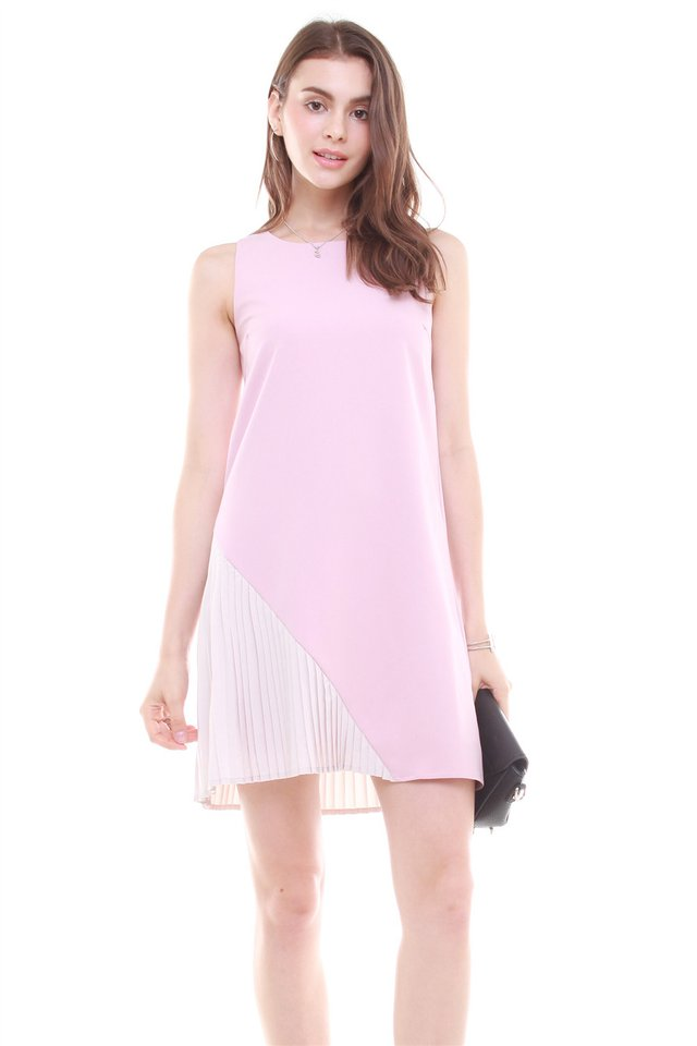 Asymmetrical Pleat Shift Dress